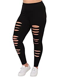 Tootu Women Plus Size Elastic Leggings Solid Criss-Cross...