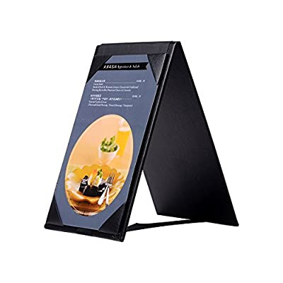 Leather Table Tent Menu Holder Menu Sign Display Covers for cafes bars or Restaurant Black (6''×4'' inch)