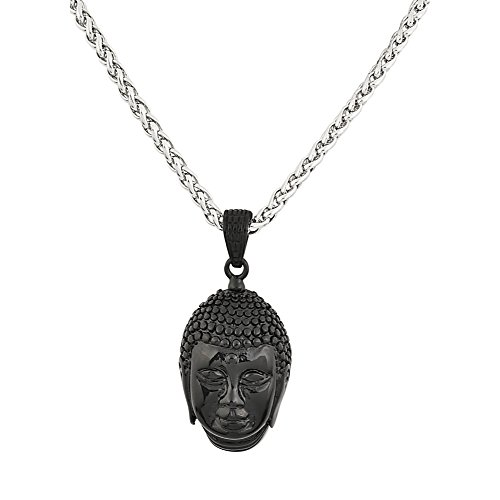 78cda57e7bee3 Edforce Stainless Steel Blacked Out Buddah Wheat Chain Pendant Necklace, 24