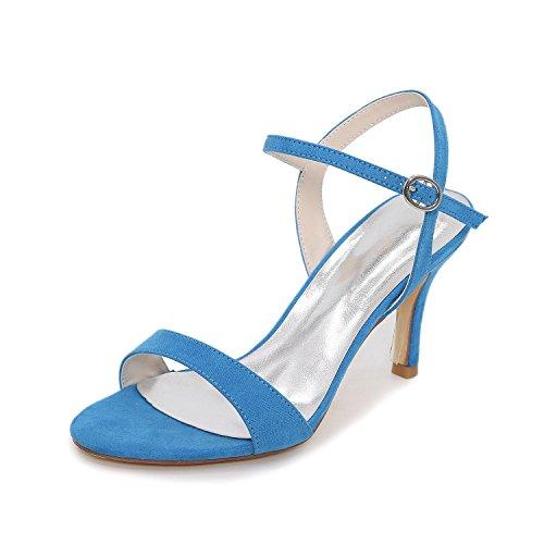L@YC Mujer Sandalias Innovador Zapatos del club Cuero Materiales Verano Boda Vestido Fiesta y Noche Pedrería Hebilla Blue