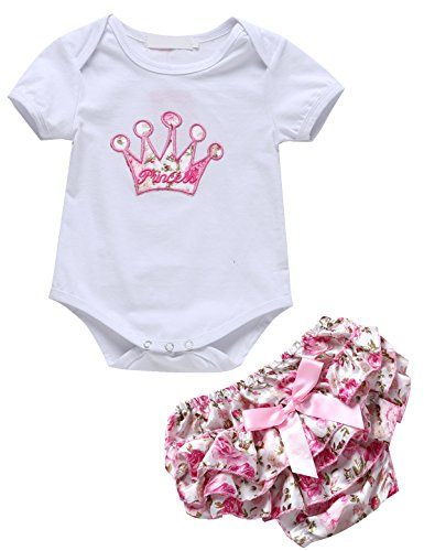 [2 Pieces Baby Girls' Cute Floral Princess Bodysuit and Skirt (0-3 Months, White)] (Princess Outfit Ideas)