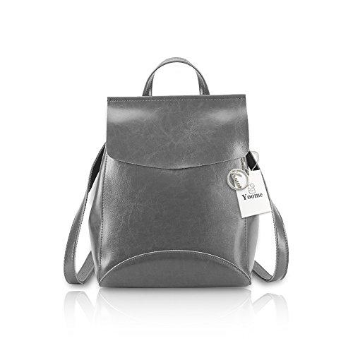 Yoome Womens Backpack Leather Multi-Way Girls School Backpack Vintage Simple Design Purse Gray