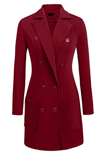 Zeagoo Women's Double Breasted Solid Color Classic Pea Coat Wine Red S