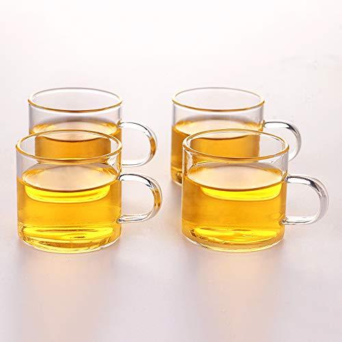 Glass Tea Cup Coffee Mug - OBOR Clear Borosilicate Small Glass Cups Set of 4, 4oz/120ml Capacity Small Coffee Cups
