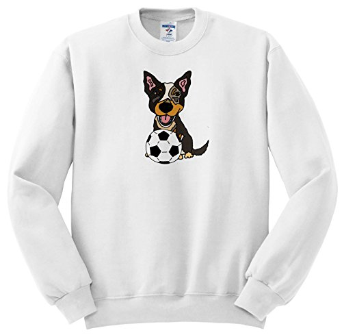All Smiles Art Pets - Funny Cute Australian Cattle Dog Playing Soccer Cartoon - Sweatshirts - Adult SweatShirt Small (ss_256451_1) ()