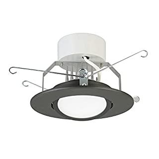 Lithonia Lighting 5G1MB LED 30K 90CRI M6 LED Retrofit Gimbal Recessed Downlight, 3000K, 8 watts, 780 Lumens, 5 Inch, Matte Black, Higher Lumen Version