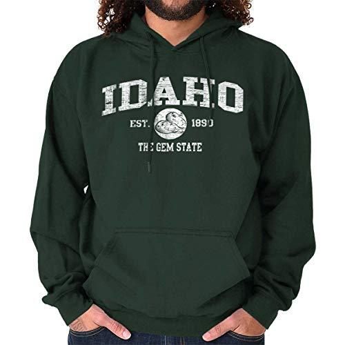 Idaho State Vintage EST Retro Hometown Hoodie Sweatshirt Forest Green ()