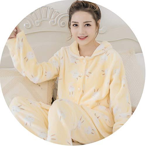 Women Pajamas Sets Flannel Cartoon Lovelys Women Homewear Female Animal Sleepwear Lady's A,Color 4,L