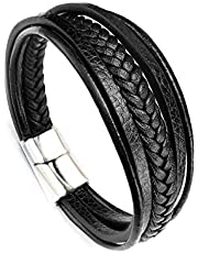 Mens braided leather multi layer fashion bracelet / wrist band