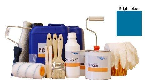 9917005.T 5sqm Professional Fibreglass/GRP kit incl. Bright blue topcoat, resin, glass matting and application tools by FibreGlassDirect