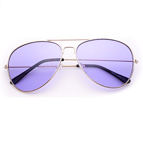 Classic Aviator Style Metal Frame Sunglasses Colored - Tinted Glasses Purple
