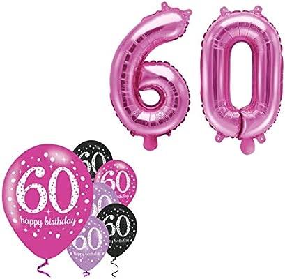 festefeiern-shop.de Fija celebran Cumpleaños Decoración para 60 cumpleaños | 8 Piezas Globos Rosa Negro púrpura Metallic Party Decoración Set Happy ...