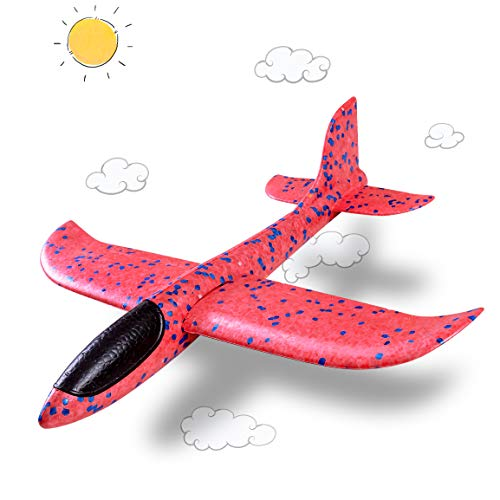 Refasy Outdoor Gifts for 4-12 Year Old Boys Girls, Children Moder Foam Airplane Toys for Boys Ages 7 to 10 Birthday Presents Gifts Fun Lightweight Glider Plane Flying Toy for Teen Girl Kids Red