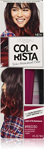 L'Oréal Paris Colorista Semi-Permanent Hair Color For Brunettes, Red (Temporary Red Hair Dye For Dark Hair)