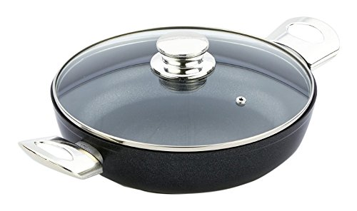 Bisetti BT-48373 Diamond Aluminum Pan with Side Handles, Medium, Black
