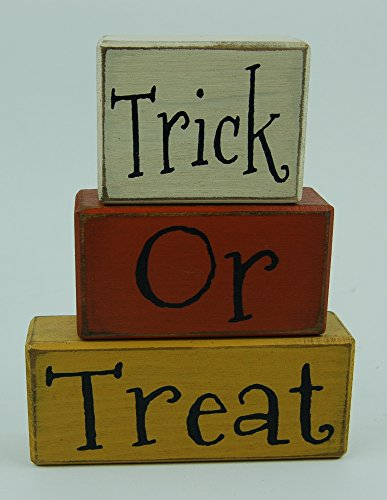 NEW! Trick Or Treat - Candy Corn - Primitive Wood Sign Shelf Sitting Blocks - Holiday, Seasonal, Halloween, Fall, Home Decor