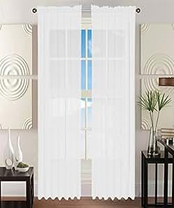 Elegant Comfort 2 Piece Sheer Panel Curtain With 2 Rod Pocket Solid Window