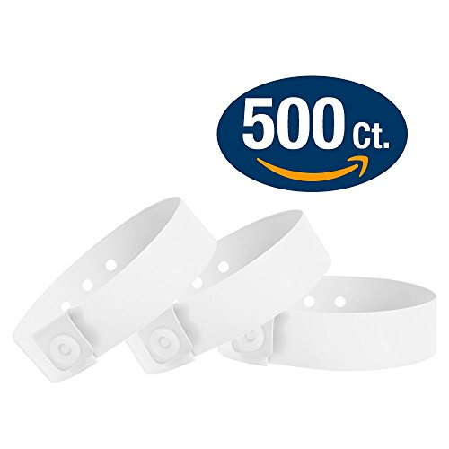 WristCo White Vinyl Wristbands - 500 Pack Wristbands For Events