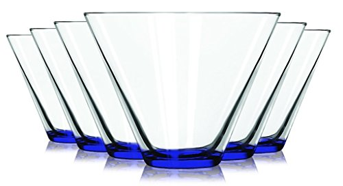 (Libbey Cobalt Blue Stemless Martini Glasses with Colored Accent - 13.5 oz. Set of 6- Additional Vibrant Colors Available by TableTop King)