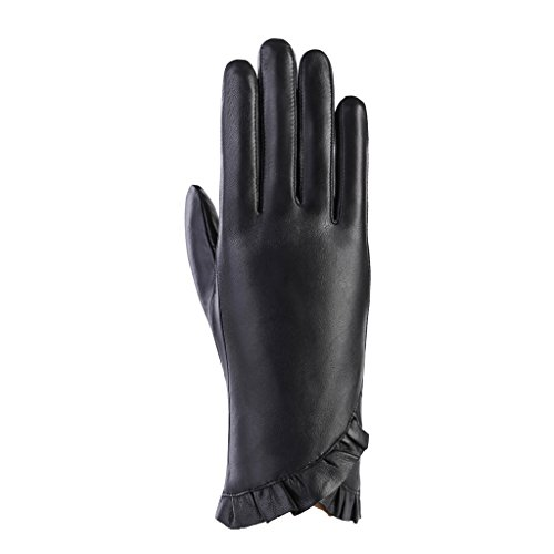 MoDA Women's Ms. Montreal Chic Ruffle Touchscreen Enabled Solid Leather Driving Gloves