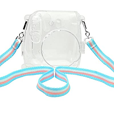 Camera Case Cover for Fujifilm Instax Mini 8/ 8s, Yookat PVC Crystal Protection Camera Case for Fujifilm Instax Mini 8/ 8s Instant Film Camera with Adjustable Strap (Clear and Colorful Strap)