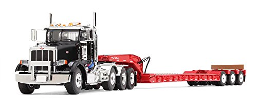 First Gear 1/50 scale Diecast Collectible Black/Red Peterbilt Model 367 with Tri-Axle Lowboy Trailer (#50-3379)