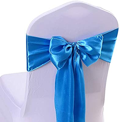 Super 10Pcs 17X275Cm Satin Chair Bow Sash Wedding Reception Banquet Decoration 16 Sky Blue Interior Design Ideas Clesiryabchikinfo