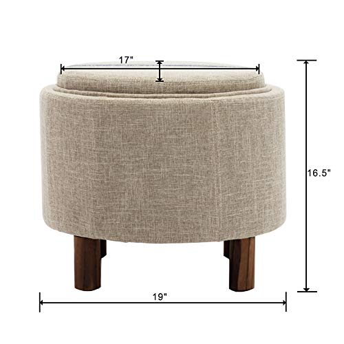 chairus Round Storage Ottoman with Tray, Small Footrest with Blue Striped Lid Wood Legs, Beige
