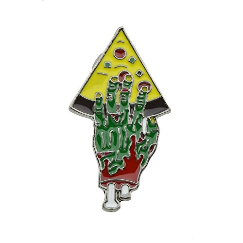 FEELONTOP Lovely Colorful Enamel Zombie Hand Holding Pizza Shape Brooch Clip Clasp with Jewelry Pouch (Green Enamel Clip)