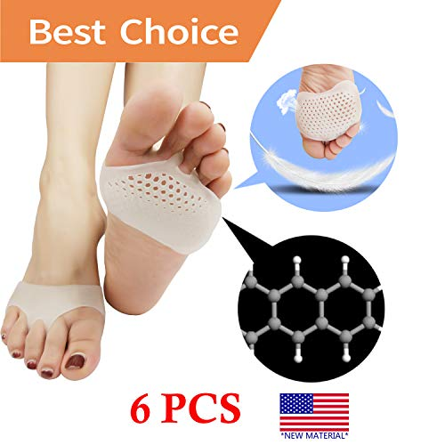 (Metatarsal Pads, Ball of Foot Cushion (6 PCS) *New Material* Forefoot Pads, Breathable & Soft Gel, Best for Diabetic Feet, Callus, Blisters, Forefoot Pain. (White))