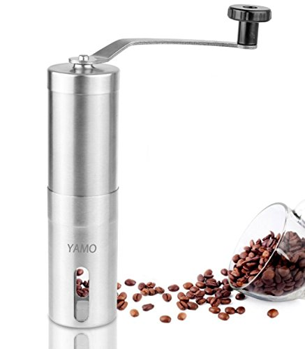 YAMO Manual Coffee Grinder | Conical Burr Mill for Precision Brewing | Brushed Stainless Steel For Sale