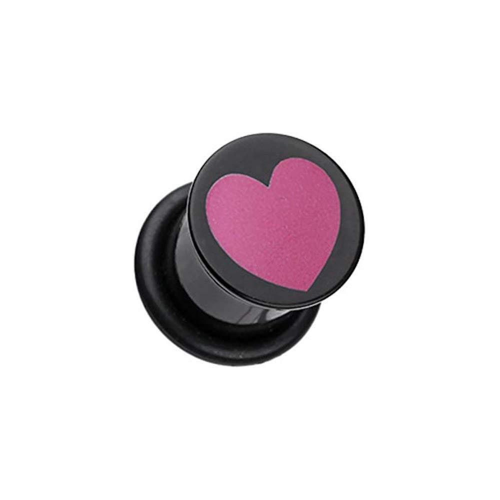 Covet Jewelry Adorable Heart Acrylic Single Flared Ear Gauge Plug
