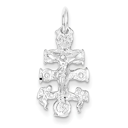 (West Coast Jewelry Sterling Silver Cara Vaca Crucifix Pendant )