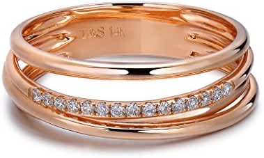TARA Legacy 14k Gold Diamond Three Row Ring (0.08cttw, G-H Color, SI1-SI2 Clarity)