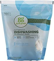 Grab Green Natural Dishwasher Detergent Pods, Free & Clear/Unscented, 60 Count, Fragrance Free, Organic Enzyme-Powered, Plan