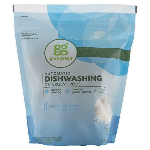 - Grab Green Naturally-Derived, Plant & Mineral-Based Automatic Dishwasher Detergent, Fragrance Free, 60 Loads