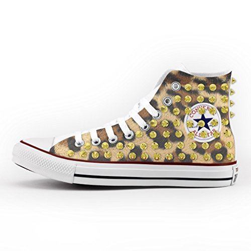 Converse All Star Personnalisé, Imprimés et Clouté - chaussures à la main - produit Italien - Tiger