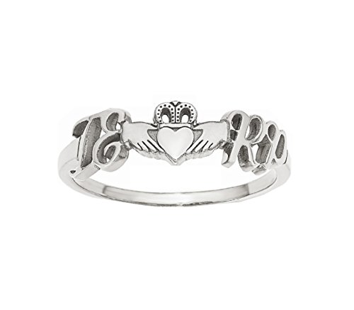 Roy Rose Jewelry 10K White Gold Heart Claddagh Couple's Initial Personalized Custom Love Romance Ring - Size 5.25 by Roy Rose Jewelry
