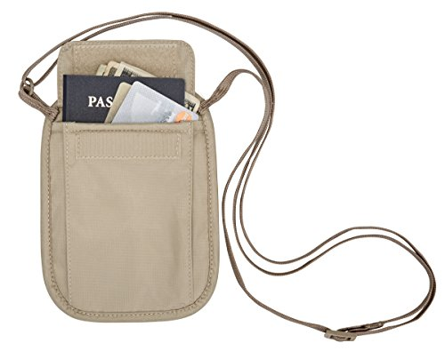 41LT8zInWpL - Eagle Creek RFID Blocker Neck Wallet, Tan