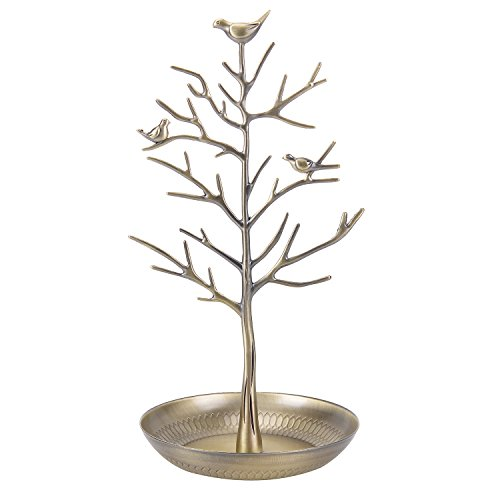 ChezMax Outdoor Antique Birds Tree Stand Jewelry Display Necklace Earring Bracelet Holder Organizer Rack Tower Gold
