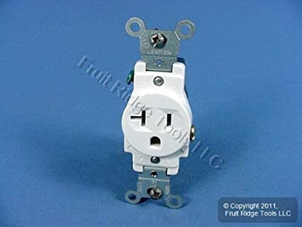 *NEW* Leviton 5801-W Narrow Body Single Receptacle White 20-Amp 125-Volt