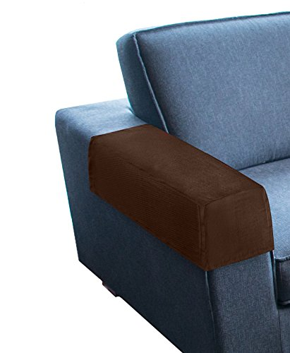KLEEGER Premium Sofa Armrest Cover Set - Stretch fabric Slipcovers For Couches, Armchairs & Recliners (Set Of 2) (Chocolate Brown)