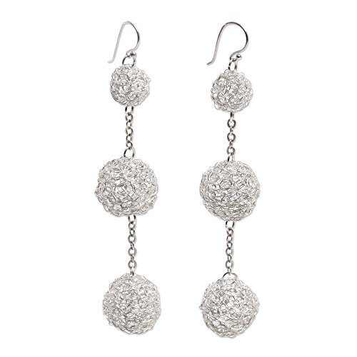 - NOVICA Silver Plated Dangle Hook Earrings 'Triple Topiary'