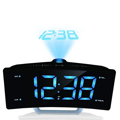 (XIAOMEI Curved-Screen Digital Projection Alarm Clock Fm Radio Mirror Luminous Date Dual Snooze Clock for Bedroom Table-B)