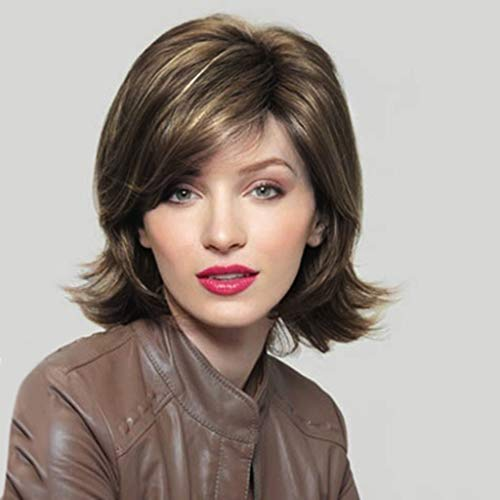 Brown Multi-Color Short Bob Wig Shoulder Length Hair Extension With Free Stretchable Hairnet (a)