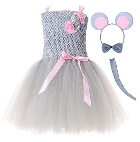 Tutu Dreams Grey Mouse Costume Child Kids Girls Animal Tutu Outfit Halloween (Large, -