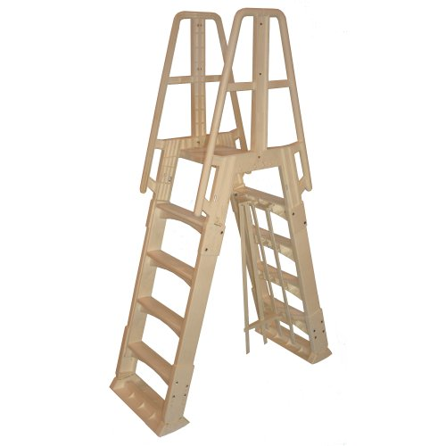 (Vinyl Works NE120T Premium Frame Above Ground Pool Ladder, Taupe)