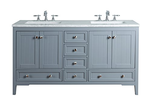Stufurhome HD-1616G CR New Yorker 60 Inches Double Sink Bathroom Vanity, Grey