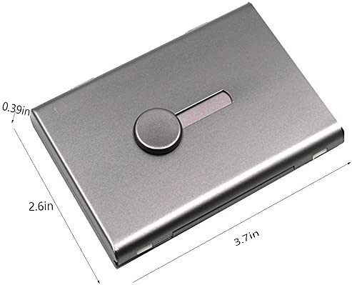 FAYEAH Business Card Holder Gray Thumb-Drive Business Card Case Stainless Steel Card Holder Card Case Excellent Design for Men and Women