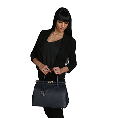 en Cm Femme foncé cuir Fabriqué Chicca véritable main Italie Sac à en 35x28x16 avec épaule Borse Bleu 4wwHq6P